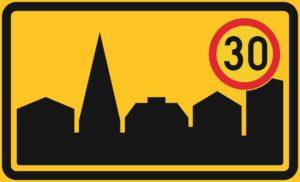 liikennemerkki taajama-alue ja 30km/h rajoitus